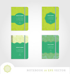 Set of notebooks with mandala background vector image vector image