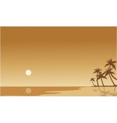 Silhouette of beach on brown backgrounds vector