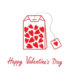 Teabag with hearts happy valentines day vector