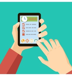 time management concept - hands holding tablet vector image vector image