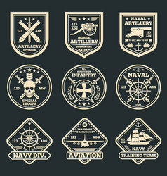 Vintage military and army emblems badges vector