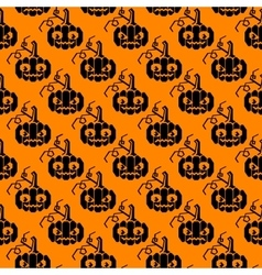 Halloween glyph pattern with pumpkins vector image