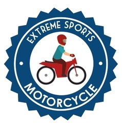 Motorcycle extreme sport badge design vector