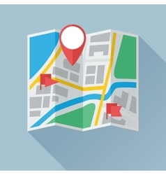 Folding paper map with location marks flat icon vector
