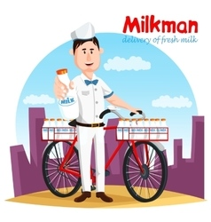 Milkman and his bicycle transport for milk bottle vector