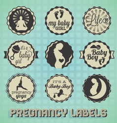 Vintage pregnancy labels and icons vector