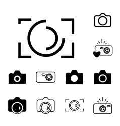 Camera icons isolated or snapshot photography vector