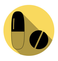 Medical pills sign  flat black icon with vector
