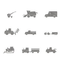 Icons set with agricultural machinery vector
