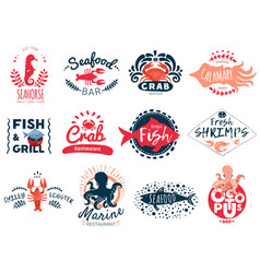Seafood creative emblems collection vector