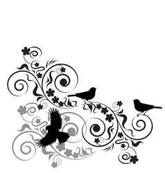 vignette with birds and flowers vector image