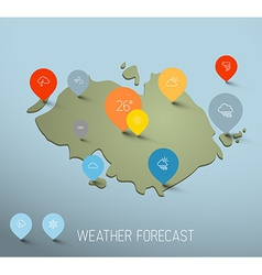 Weather forecast map with flat pointers and icons vector