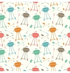 Retro BBQ grill seamless pattern vector image