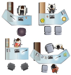 Office furniture top view set 7 vector