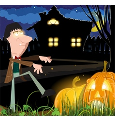 Zombie near the haunted house vector