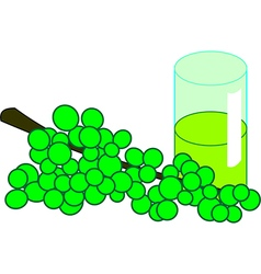 Bunch of green grapes with a glass vector