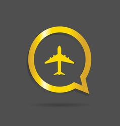 Airplane gold icon vector