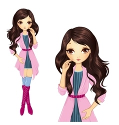 Brunette girl in pink coat vector
