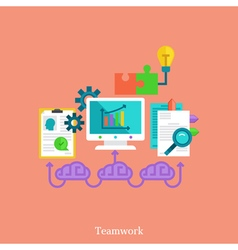 Teamwork and brainstorm flat concept vector