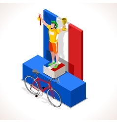 Cyclist tour winner isometric people 3d vector