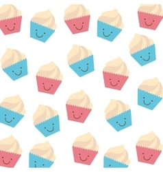 background of cupcakes isolated icon design vector image