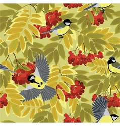 Autumn rowan branches and tits vector