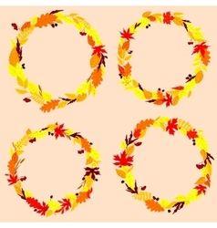 Autumnal leaves wreaths or frames vector