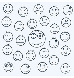 Cartoon emotional faces set comics expressed vector