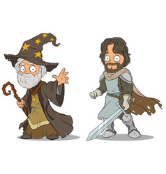 cartoon medieval wizard and knight characters set vector image vector image
