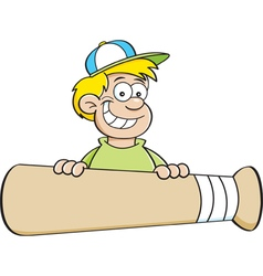 Cartoon smiling boy behind a large baseball bat vector image