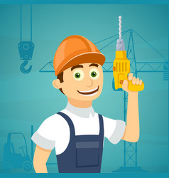 Construction worker with a drill tool in his hand vector