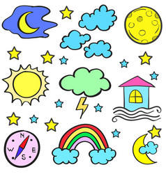 Doodle of weather design set vector