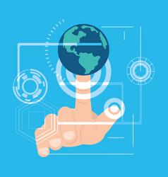 Fingerprint authentication digital technology vector