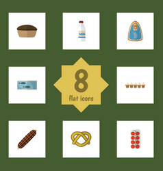 Flat icon food set of cookie eggshell box tin vector