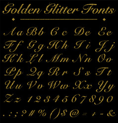 Glitter golden handwritten fonts alphabet number vector