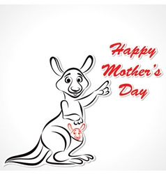 Happy mother and baby kangaroo vector