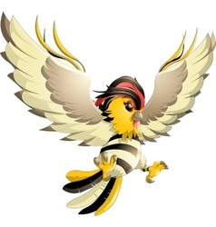 Happy yellow bird cartoon flying vector