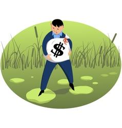 Investor on shaky ground vector
