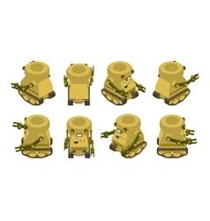 Isometric khaki military robot on crawler tracks vector
