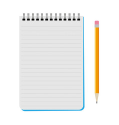 Notebook with a yellow pencil vector