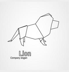origami logo contour lion vector image