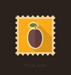 Plum flat stamp fruit vector