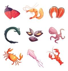Sea food retro cartoon icons set vector