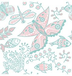 Seamless floral pattern copy square to the side vector