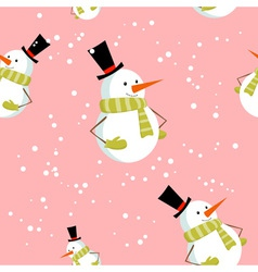 Seamless pattern with cute cartoon Christmas snowm vector image vector image