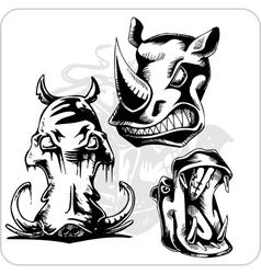 Set - Aggressive Rhinoceros vector image vector image