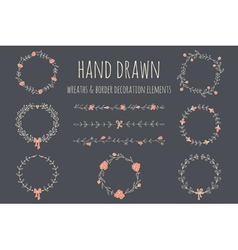 Set of hand drawn wreaths and borders vector