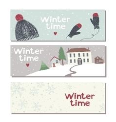 Set of three website horizontal winter banners vector