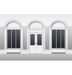Shop Building with Glass Showcase Closed Door vector image