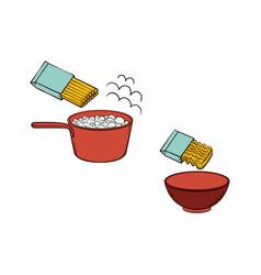 Spaghetti noodles preparation steps icon vector